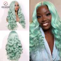 EEWIGS verde menta Color resistente al calor sin costuras de cabello sintético peluca con malla frontal de la onda Natural Cosplay pelucas para mujeres negras