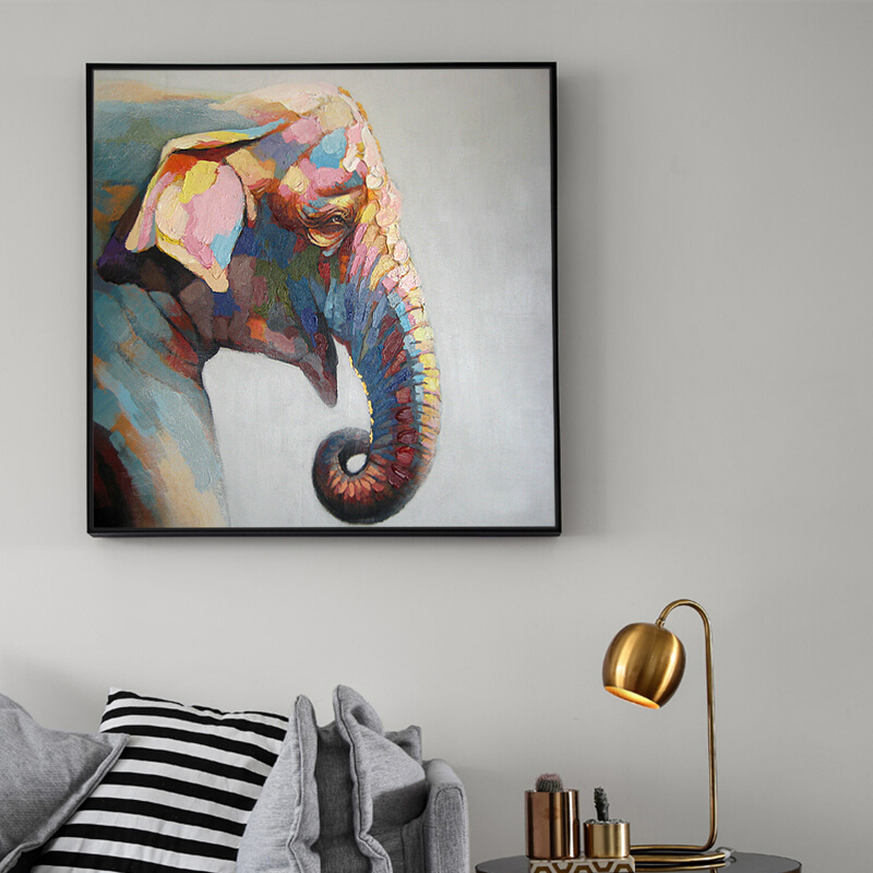 100%Handpainted Abstract Elephant Oil Paint On Canvas Art Oil Painting Gift Home Decor Living Room Wall Adornment Picture FreeSh