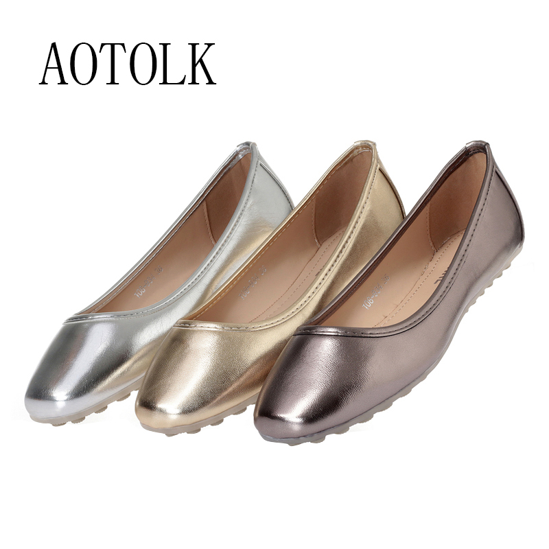 Cheap Women Flats Boat Shoes Slip On Round Toe Woman Loafers Golden Sliver Black Casual Shoes Soft Comfortable Shoes Female Plus Size