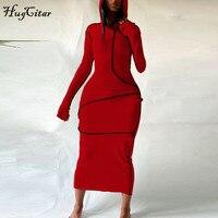 Женское платье макси Hugcitar, с длинным рукавом, с капюшоном, в стиле пэчворк, на осень и зиму, Повседневная Уличная одежда, 2020 5