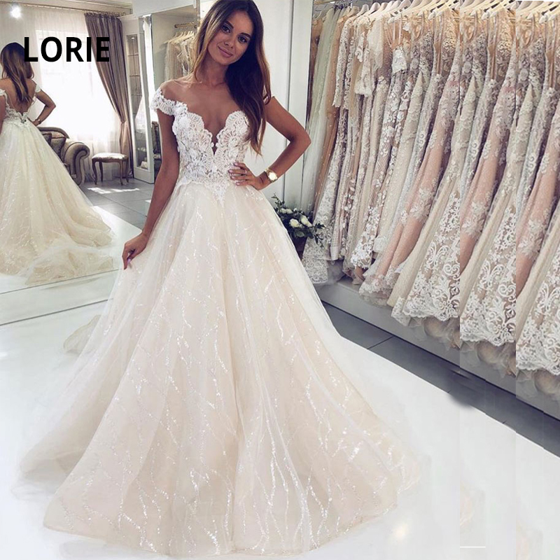 LORIE 2019 New Bridal Gown Backless Lace Beach Wedding Dress V-neck Off Shoulder Bridal Gelinlik Arabic Mariee Shiny Tulles