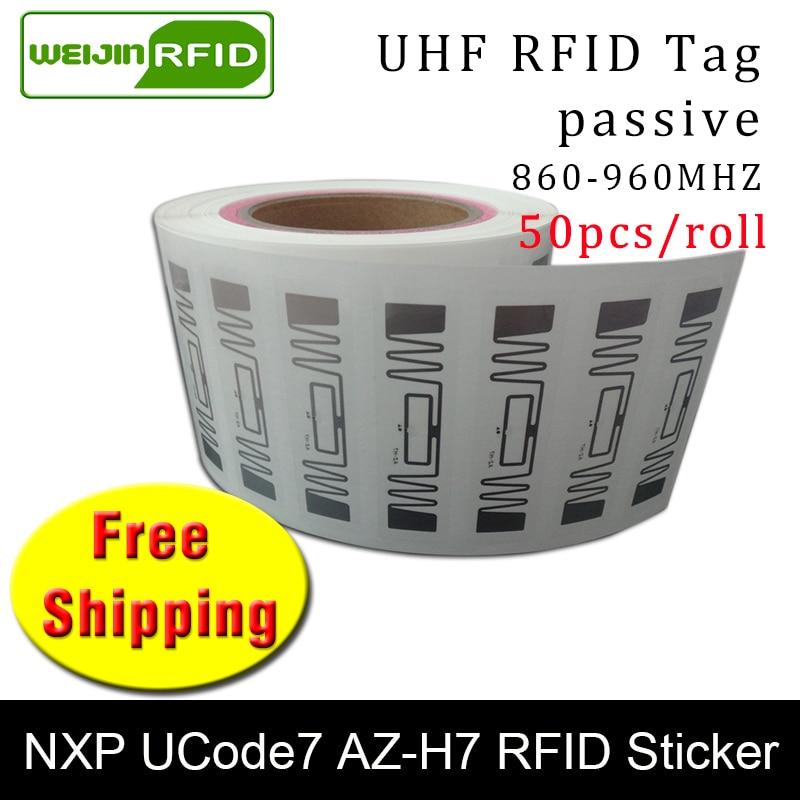 RFID Tag UHF Sticker NXP Ucode7 AZ-H7 Wet Inlay 915mhz868mhz 860-960MHZ EPC 6C 50pcs Free Shipping Adhesive Passive RFID Label