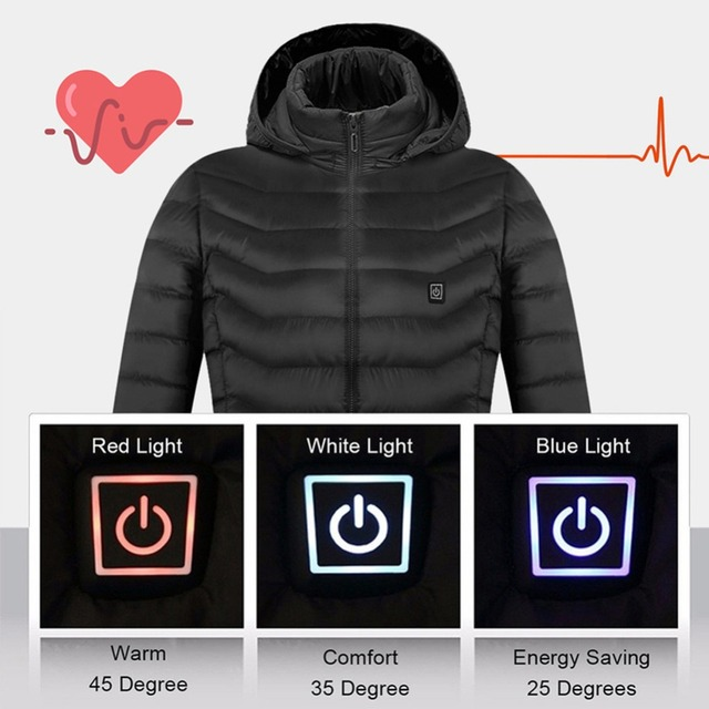 Electric Heated Vest Jackets USB Electric Heating Hooded Cotton Coat Camping Hiking Hunting Thermal Warmer Jacket Winter Outdoor 2