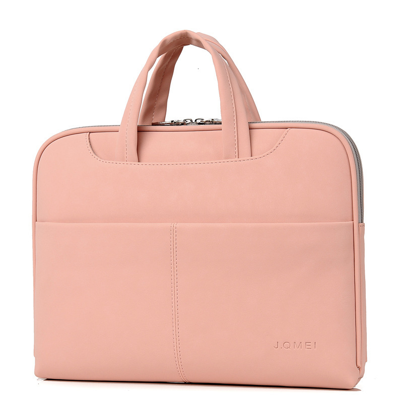 Leather Business Bag Handbag Men Briefcase Women 13.3 14.1 15.4 15.6 Inch Liner Shock Resistant Laptop Bags