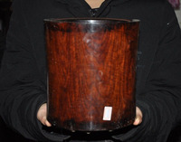 christmas 7 Antique Chinese Huanghuali Wood Carved Glossy Round Brush Pot Pencil Vase New Year