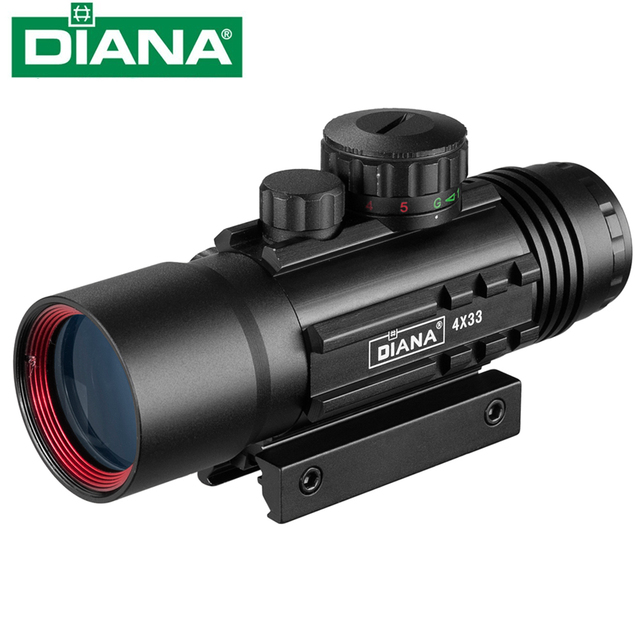 4X33 Green Red Dot Sight Scope Tactical Optics Riflescope Fit 11/20mm Rail Rifle Scopes for Hunting 1