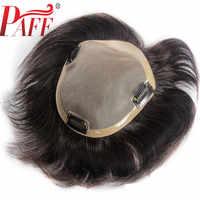 PAFF Brasilianische Menschliches Haar Toupet Für Männer Spitze Mit NPU Menschliches Haar Toupet Ersatz System Natürliche Gerade mit Clips
