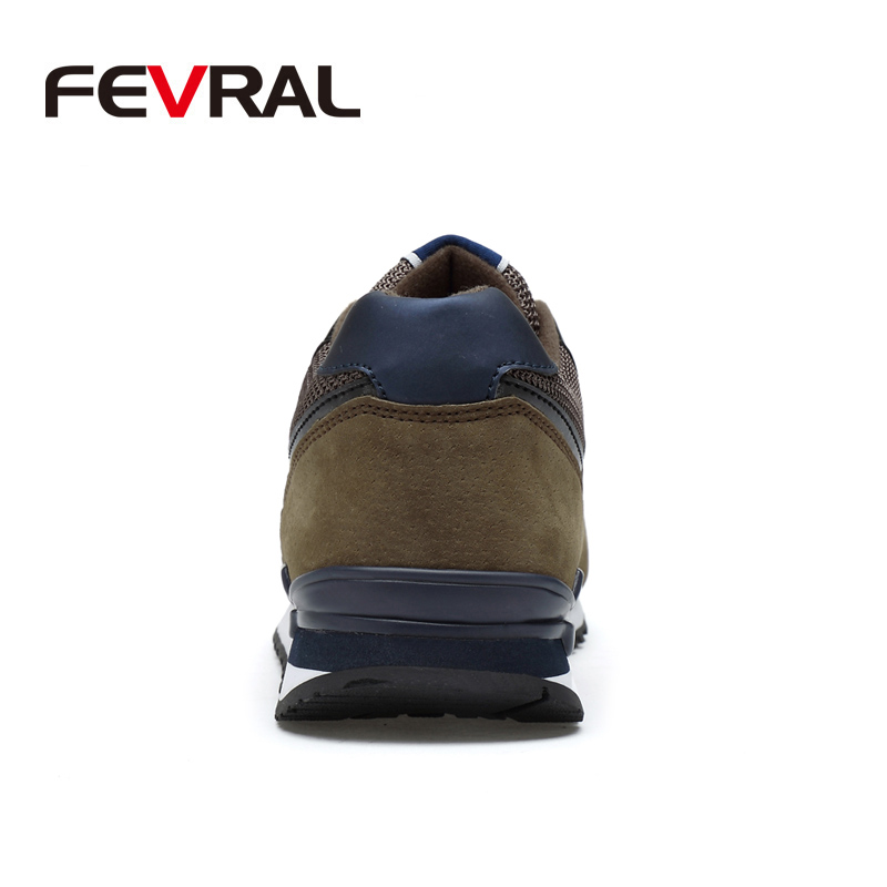 Image 2 - FEVRAL Men Sneakers Genuine Leather & Mesh Air Breathable Trainers Light Weight Outdoor Walking Shoes Spring Summer Autumn DailyMens Casual Shoes   -