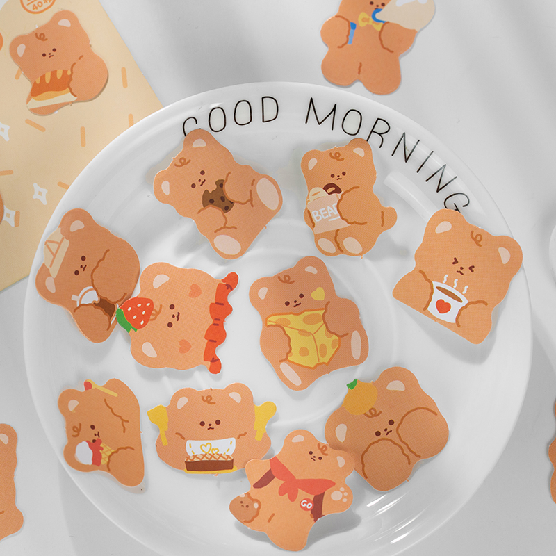 40 pcs/pack cute Little bear's Diary Journal Decorative Stickers Scrapbooking Stick Label Diary Stationery Album Stickers
