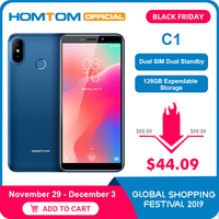 Global Version HOMTOM C1 16G ROM 5.5Inch Mobile Phone 13MP Camera Fingerprint 18:9 Display Android 8.1 MT6580A Unlock Smartphone