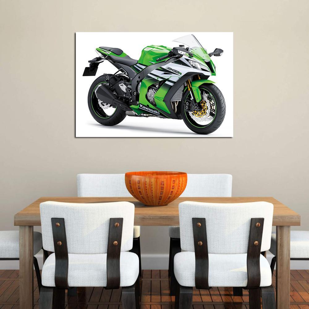 Kawasaki ZX10R Muscle Motorcycle Poster Canvas Painting Wall Art 24X36inch
