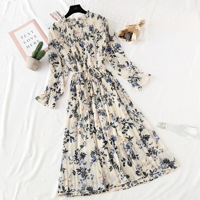 2020 New Summer Autumn Women Printed Pleated Chiffon Dress Fashion Female Casual  Flare Sleeve Lotus Leaf Neck Basic Dresses