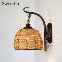 Southeast Asia Hemp Rattan Wall Lamp Vintage Wall Lights for Home Lighting Art Deco Iron Sconce Bedroom Bathroom Light Fixtures