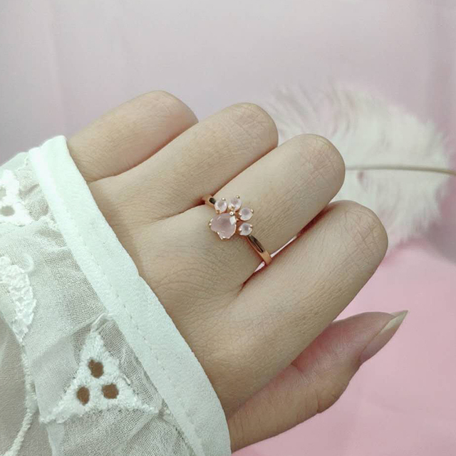LAMOON Sterling Silver 925 Jewelry Rings For Women Pink Paw Rose Quartz Ring Rose Gold / White Gold Platd Gemstones Jewellery 1