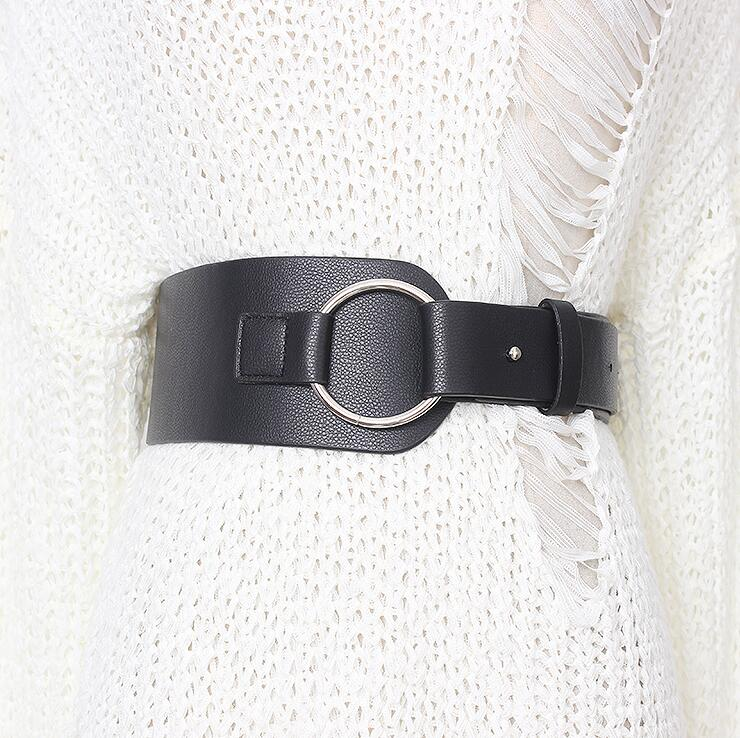 Women's Runway Fashion Pu Leather Cummerbunds Female Vintage Dress Corsets Waistband Belts Decoration Wide Belt R2166