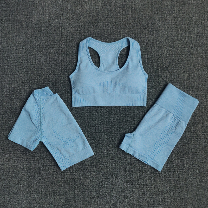 Seamless 3pcs Women Yoga Set Workout Sports Bra Crop Top Short Sleeve T Shirt High Waist Fitness Shorts Gym Clothes Sports Suits
