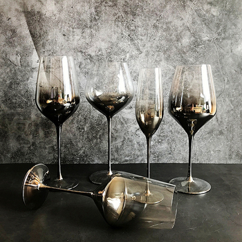High quality Electroplate gray wine glass Set 2