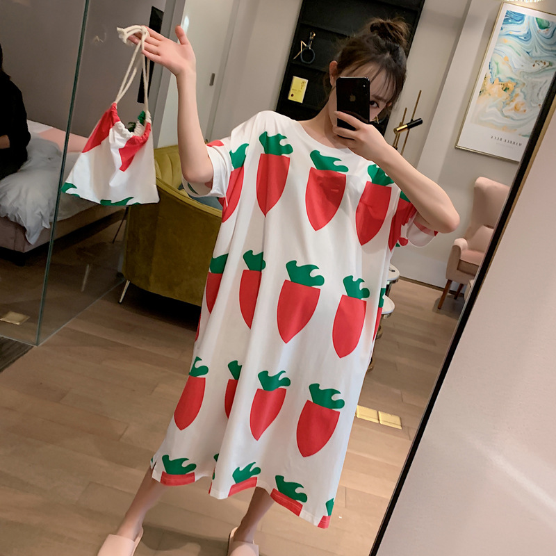 Summer Short-sleeved Nightgown Women's Big Turnip Send Cloth Bag M-xxl2020 New Style 4-Color
