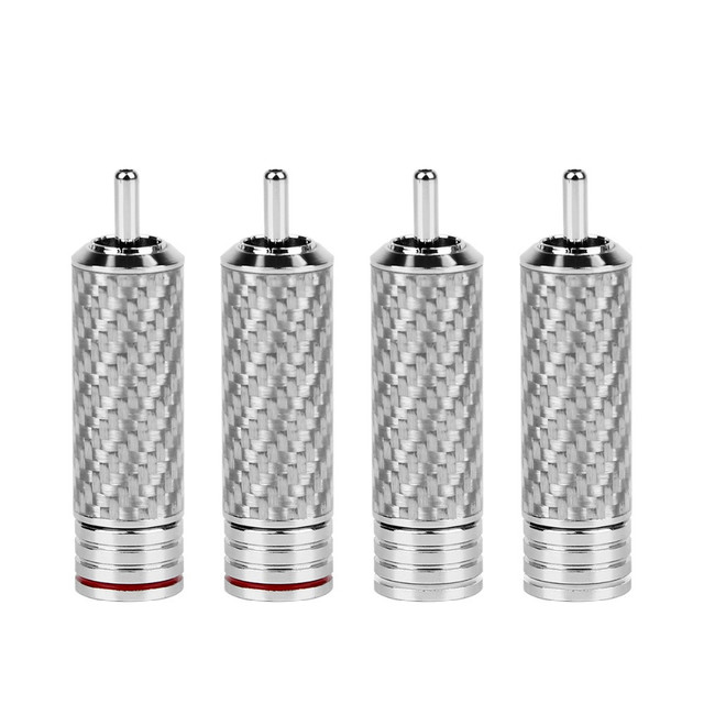 4 Stuks Rca Connector Hifi Rca Plug Hi End Rhodium Plated Carbon Fiber Terminals Adapter Socket Jack Video/Audio Solder Adapter Diy