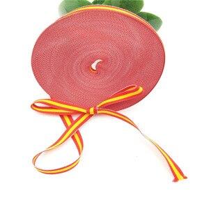 Fita xadrez para artesanato 10mm poliéster 25 quintal espanha bandeira gorgorão fita decoração para borboleta grampo de cabelo vermelho amarelo vermelho