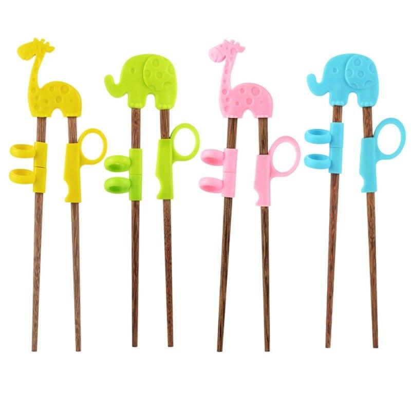 Cartoon Animals Kids Children Learning Training Chopsticks Baby Enlightenment Chopsticks Silicon Wooden Safety Toy