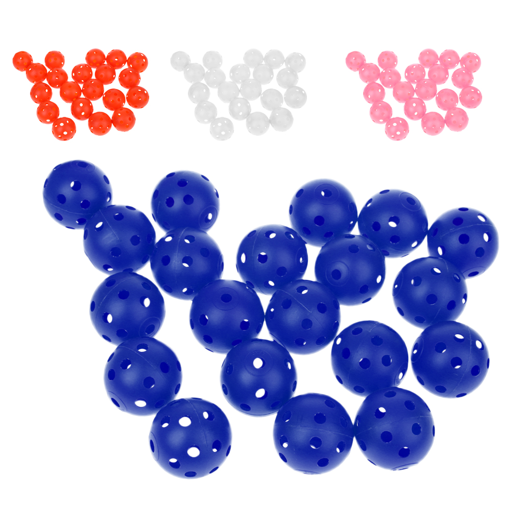 20 Pieces Plastic Training Golf Balls Portable Perforated Practice Tennis Ball