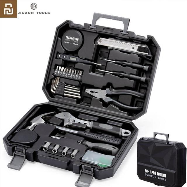 Youpin JIUXUN Caja de Herramientas de Kit de herramientas DIY para el hogar, herramienta de mano General con destornillador, llave y martillo, alicates de cinta, cuchillo, caja de herramientas, 12/60 Uds.