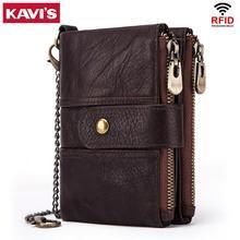 KAVIS 100% กระเป๋าสตางค์หนังแท้RFIDกระเป๋าสตางค์ผู้ชายCrazy Horseกระเป๋าสตางค์กระเป๋าสตางค์ชายสั้นเงินกระเป๋าคุณภาพDesigner MINI Waletขนาดเล็ก