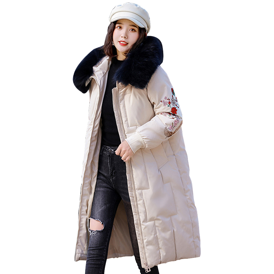 winter jacket women 2019 Real fur collar winter thicken warm cotton Sustans long winter coats hooded embroidery outwear female
