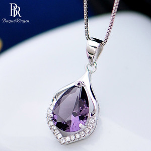 Bague Ringen Elegant Water Drop Shaped Pendant Amethyst Necklace for Women Temperament Gemstone Silver 925 Jewelry Weddings Gift