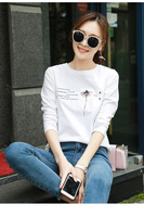 White top female fall in autumn and winter on the new 2019 cotton shirt long sleeve T shirt dress brim ins tide