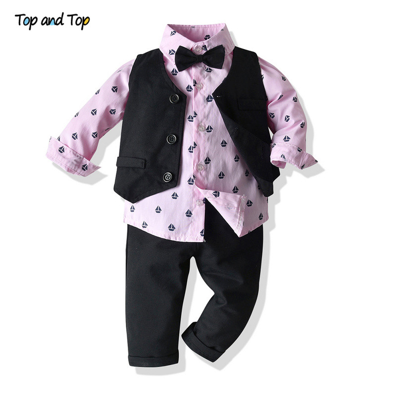 Top and Top Autumn Winter Baby Boys Clothing Set Long Sleeve Romper Shirt+Waistcoat+Pant 3Pcs Gentleman Boys Casual Clothes