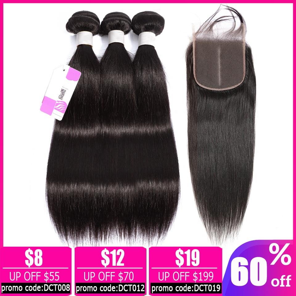 LEVITA Straight Hair Bundles With Closure Brazilian Hair Weave Bundles Non-remy Peruvian 100%human Hair Bundles With Closure