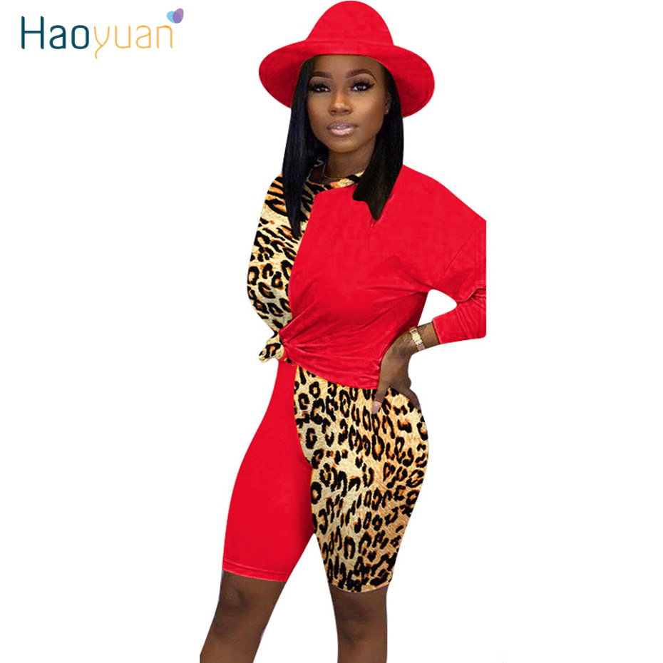 HAOYUAN Leopard Plus Size Two Piece Set Sweat Suits Women Fall Clothes Top And Shorts 2 Piece Outfits Matching Sets  Tracksuit