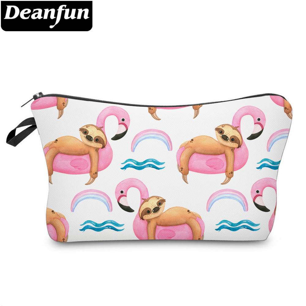 Deanfun Printing Sloth Cosmetic Bag Summer Pink Flamingo White Makeup Bag Waterproof Organizer 52010