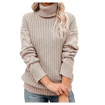 Women Stretch Sweaters Turtleneck Pullovers Long Sleeve Slim-fit Tight Sweater 2021 Autumn Winter Solid Color Sweater #20 1
