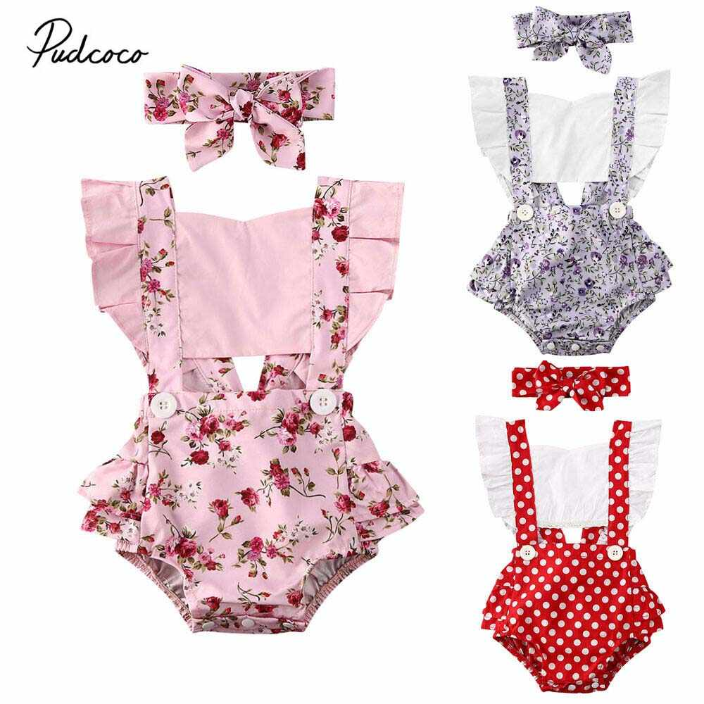 2020 Baby Summer Clothing 2PCS Newborn Infant Baby Girl Polka Dot Romper Jumpsuit Clothes Outfit Headband Sleeveless Sunsuit