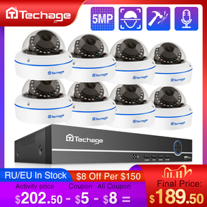Image 1 - Techage H.265 8CH 5MP POE NVR CCTV System Vandalproof 5MP Indoor Dome Audio IP Camera P2P Remote Video Security Surveillance Set