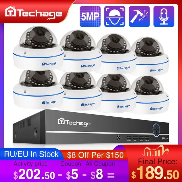 Techage H.265 8CH 5MP POE NVR CCTV System Vandalproof 5MP Indoor Dome Audio IP Camera P2P Remote Video Security Surveillance Set