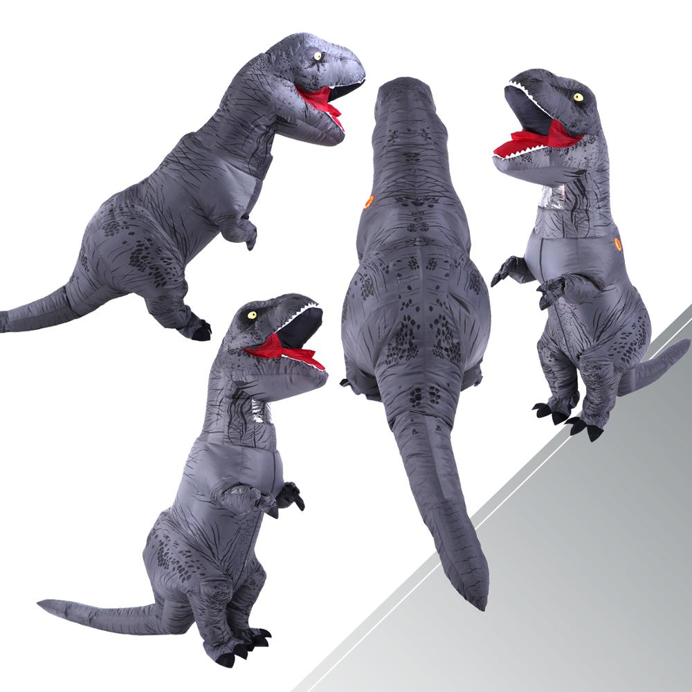 Adult Inflatable Costume Dinosaur Costumes Grey T REX Blow Up Fancy Dress Mascot Cosplay Costume For Men Women Kids Dino Cartoon