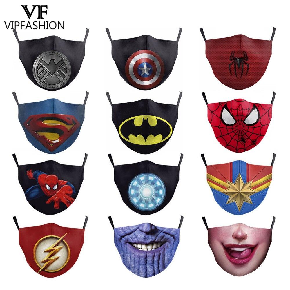 VIP FASHION 6Pcs/sets Kid Anti Dust PM2.5 Breathable Protective Face Mouth Mask Comic Supermen Superhero Printed Children Masks