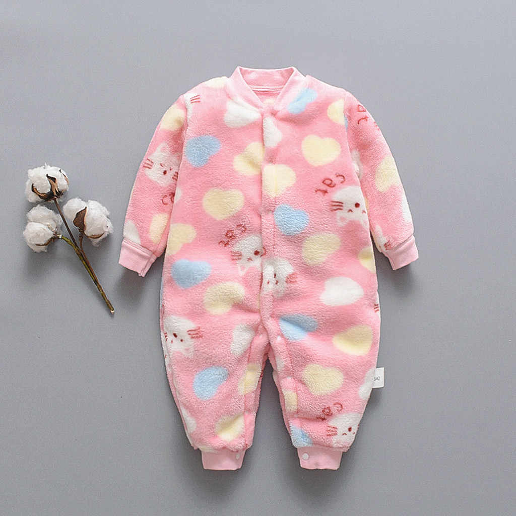 Baby Girl Boy Clothes Romper Warm Winter Thick Newborn Infant Baby Cartoon Fleece Warm Romper Jumpsuit Soft Pajamas 2019 Newest