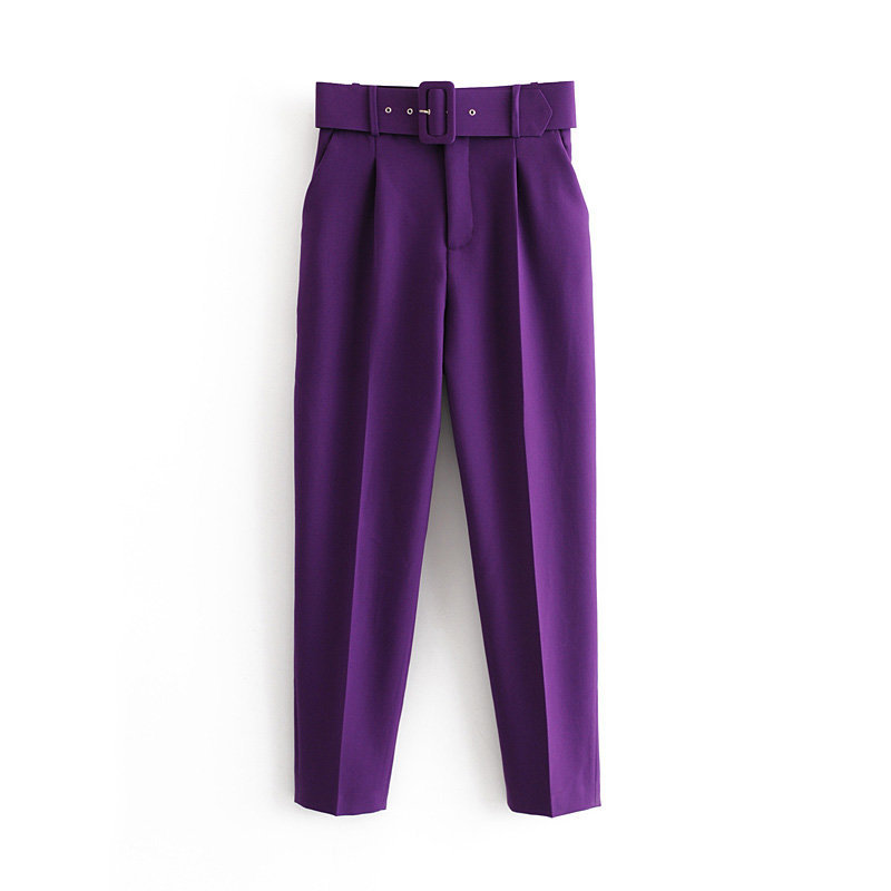 Hb1491b0ac8ff40de8b5dc783adcfb91eU - Office Lady Black Suit Pants With Belt Women High Waist Solid Long Trousers Fashion Pockets Pantalones FICUSRONG Pencil