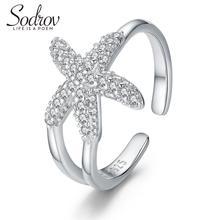 Подлинная стерлингового серебра 925 ювелирные изделия размер регулируемый кольцо для женщины ювелирные изделия Морская звезда