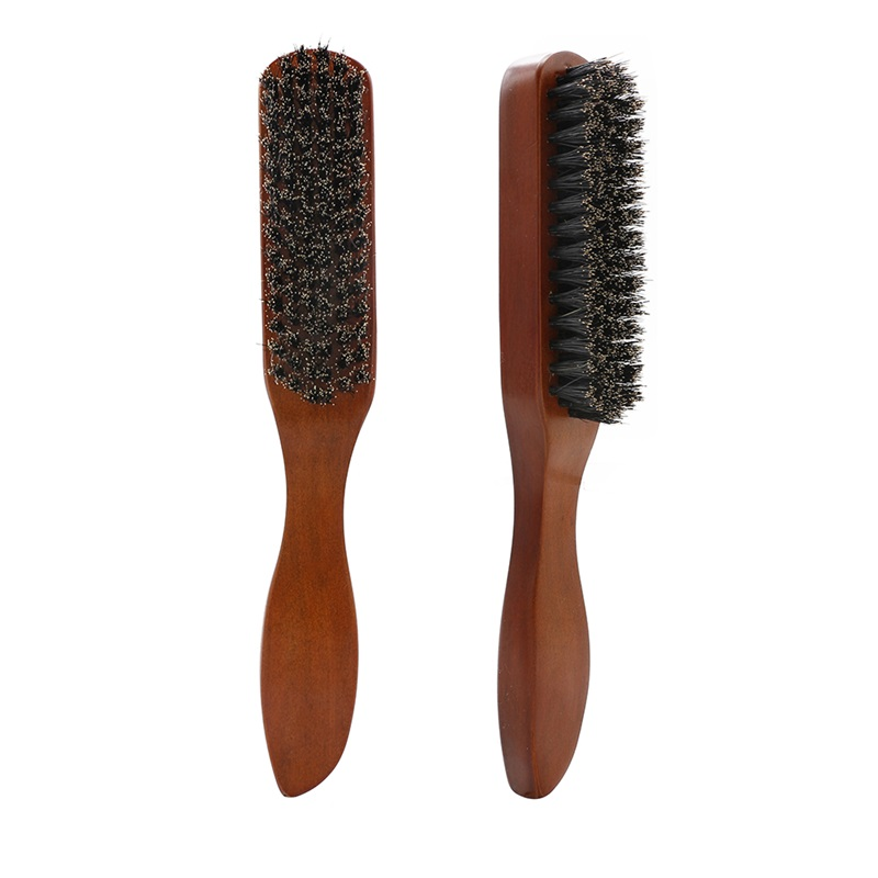 Professional Solid Wood Handle Bristle Hair Brush Massage Beard Brush Hairdressing Hair Styling Sweeping Hair Dust Collector