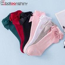 Balleenshiny/осенне-зимние детские носки хлопковые носки для малышей с большим бантом в испанском стиле аксессуары для новорожденных от 0 до 3 лет