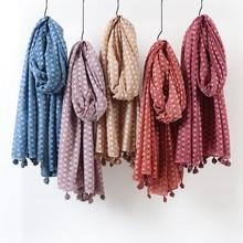 Однотонный хиджаб в горошек шарф оверсайз платок головной убор мягкий шарф длинный мусульманский Хлопок Смесь хиджабы с кисточкой