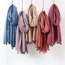 Nuovo solido pianura dots hijab sciarpa oversize scialle testa avvolge morbido sciarpa lunga musulmana miscela del cotone tinta unita hijab con la nappa