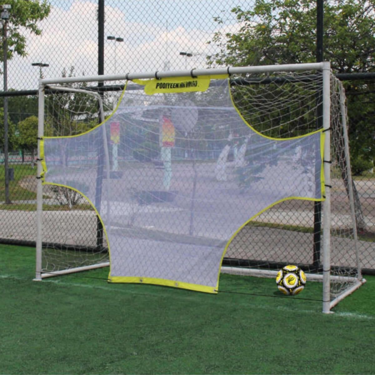 Portable Football Soccer Training Target Practice Training Shot Goal Net Soccer Ball For Children Students 5 Person System