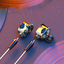 Dynamic Earphone Double Unit Driver DIY HIFI Bass Subwoofer with Mic Cable and Audio Cable 3.5mm Type C In Ear wire changeable цена